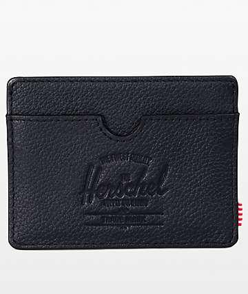 Herschel Supply Co. Charlie Black Pebbled Leather Cardholder Wallet