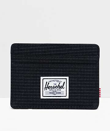 Herschel Supply Co. Charlie Dark Grid & Black Cardholder Wallet