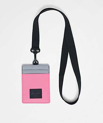 Herschel Supply Co. Charlie Neon Pink & Silver Reflective Lanyard Wallet