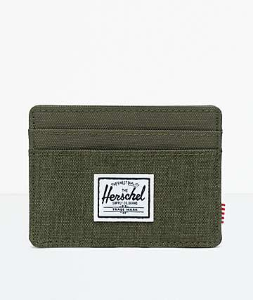 Herschel Supply Co. Charlie Olive Crosshatch Cardholder Wallet