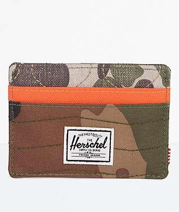 Herschel Supply Co. Charlie Wood Camo, Orange & Frog Camo Cardholder Wallet