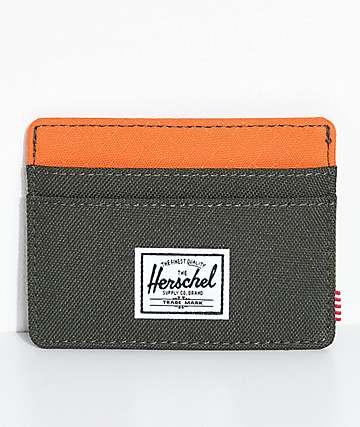 Herschel Supply Co. Charlie tarjetera en color naranja y verde gris
