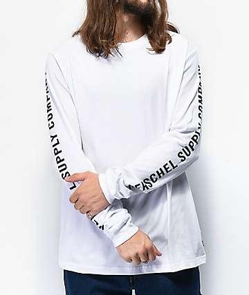 Herschel Supply Co. Classic Logo Sleeve Print White Long Sleeve T-Shirt