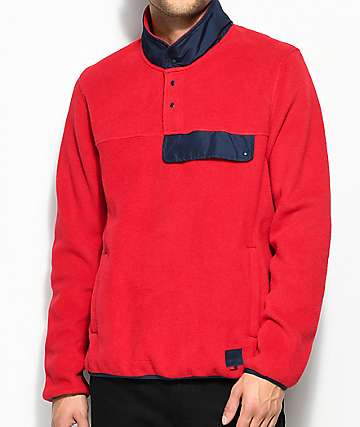 Herschel Supply Co. Guide Red & Navy Pullover Tech Fleece