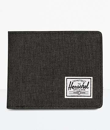 Herschel Supply Co. Hank Black Crosshatch & Black Leather Bifold Wallet