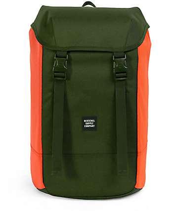 Herschel Supply Co. Iona 24L mochila en verde oscuro y color naranja
