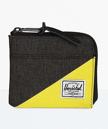 Herschel Supply Co. Johnny Black Crosshatch & Evening Primrose Zip Wallet