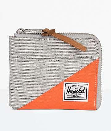 Herschel Supply Co. Johnny Light Grey & Vermillion Zip Wallet