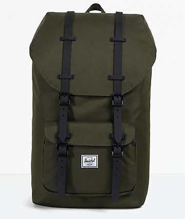 Herschel Supply Co. Little America Forest & Black Leather Backpack