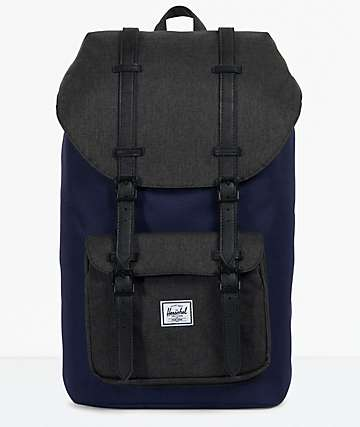Herschel Supply Co. Little America Peacoat & Black Crosshatch Backpack