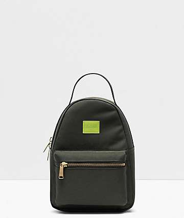 Herschel Supply Co. Nova Dark Olive & Lime Green Mini Backpack