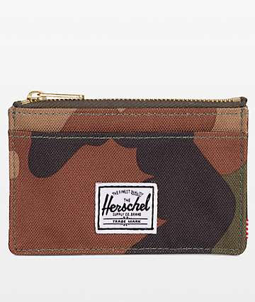 Herschel Supply Co. Oscar Woodland Camo Zip Cardholder Wallet
