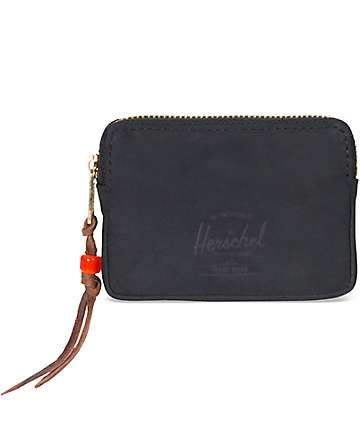 Herschel Supply Co. Oxford Black Nubuck Leather Wallet