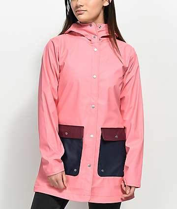 Herschel Supply Co. Parka de lluvia en rosa y azul marino