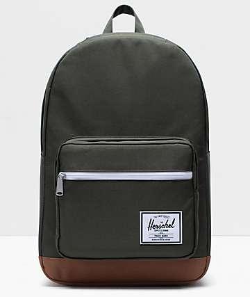 Herschel Supply Co. Pop Quiz Dark Olive & Saddle Brown Backpack