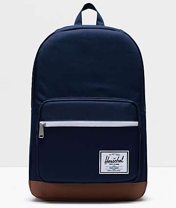 Herschel Supply Co. Pop Quiz Peacoat & Saddle Brown Backpack