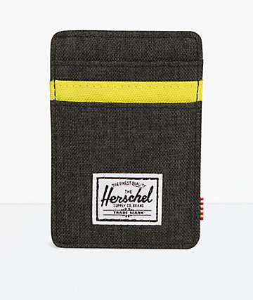 Herschel Supply Co. Raven Black & Neon Green Cardholder & Money Clip Wallet