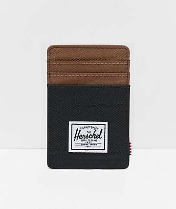 Herschel Supply Co. Raven Black & Saddle Brown Cardholder Wallet
