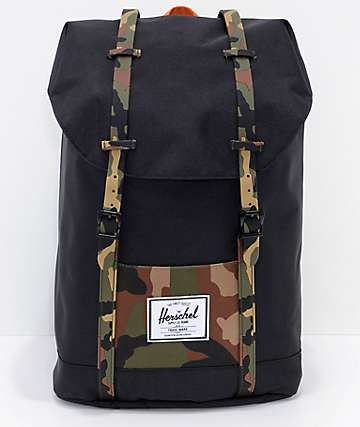 Herschel Supply Co. Retreat Black & Woodland Camo Backpack