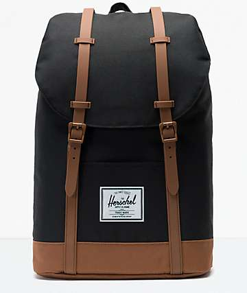 bd89b2b1252 Herschel Supply Co. Retreat Black and Saddle Brown Backpack