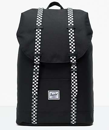 Herschel Supply Co. Retreat Mid Black & Checkerboard Backpack