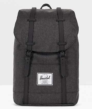 Herschel Supply Co. Retreat mochila negra de líneas cruzadas