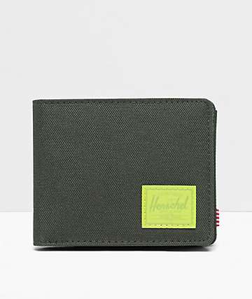 Herschel Supply Co. Roy Dark Green & Lime Bifold Coin Wallet