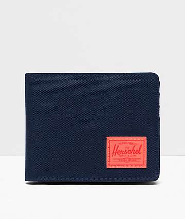 Herschel Supply Co. Roy Navy & Hot Coral Bifold Coin Wallet