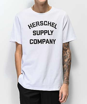 Herschel Supply Co. Stacked Logo White T-Shirt