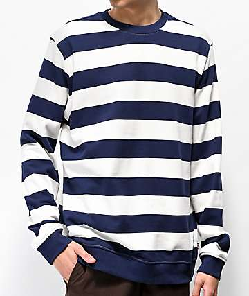 Herschel Supply Co. Striped Navy Crew Neck Sweater