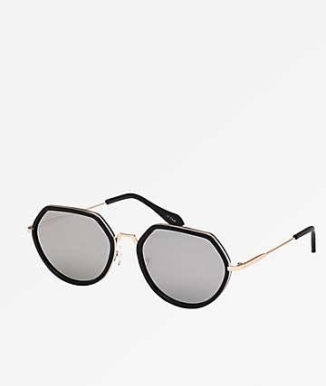 Hexagon Black & Gold Sunglasses