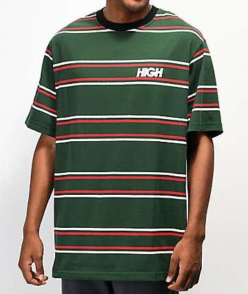 High Company Kidz Green & Red Horizontal Stripe T-Shirt