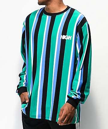 High Company Kidz Light Green & Blue Vertical Stripe Long Sleeve T-Shirt
