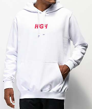 High Company Logo White Hoodie