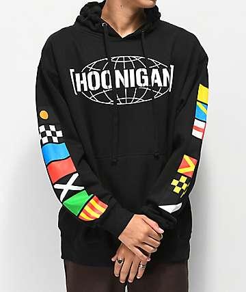 Hoonigan Flags sudadera con capucha negra