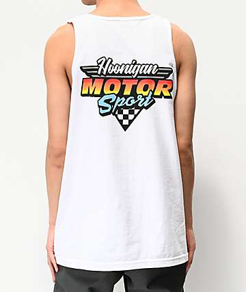 Hoonigan Motorsport White Tank Top