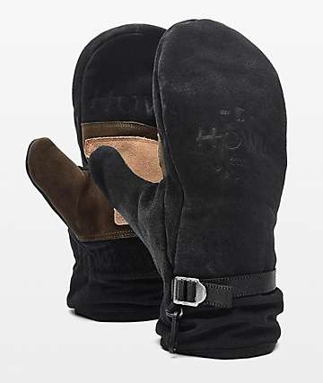 Howl Highland Black Leather Snowboard Mittens