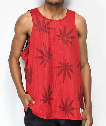 Huf Plantlife Reversible Black & Red Tank Top