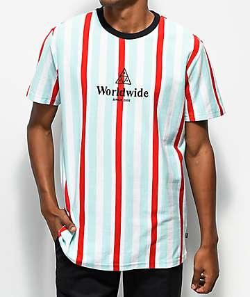 Huf camiseta de rayas verticales rojas y azules