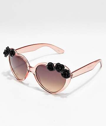 b0653a0f21 Icon Eyewear Black Flowers Blush Heart Sunglasses