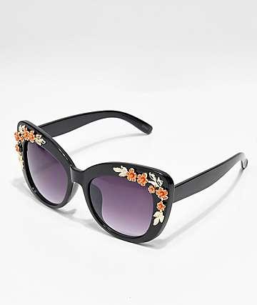cd663b4898 Icon Eyewear Flower Black Cat Eye Sunglasses