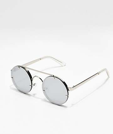 Icon Eyewear Mirrored Round Silver Sunglasses