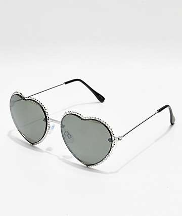 Icon Eyewear Silver Smoke Metal Heart Sunglasses