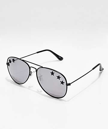 Icon Eyewear Triple Star Mirrored Aviator Sunglasses