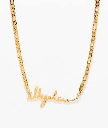 Illegal Civilization IC Cursive collar de cadena de oro