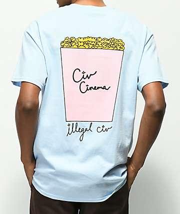 Illegal Civilization Popcorn camiseta azul claro con bolsillo