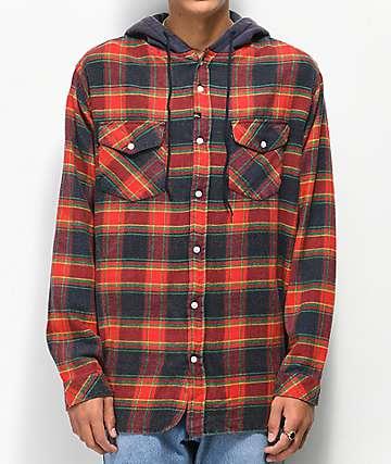 Imperial Motion Greenwich camisa de franela con capucha roja