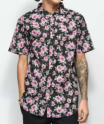 Imperial Motion Nueva Black Floral Print Woven Button Up Shirt