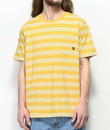 Imperial Motion Vintage camiseta amarilla a rayas con bolsillo