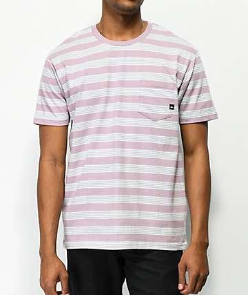 Imperial Motion camiseta de color malva de rayas con bolsillo